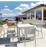 """Artemis Resin Outdoor Dining Set 5 Piece with 4 Arm Chairs and one 31.5"""" Square Dining Table"""