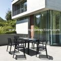 Artemis Resin Rectangle Outdoor Commercial Dining Set 7 Piece with 6 Arm Chairs