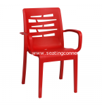 Grosfillex Essenza Red Stacking Arm Chair