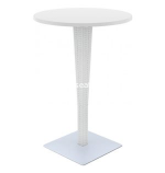 "White Riva Wickerlook Resin 28"" Round Outdoor Bar Table"