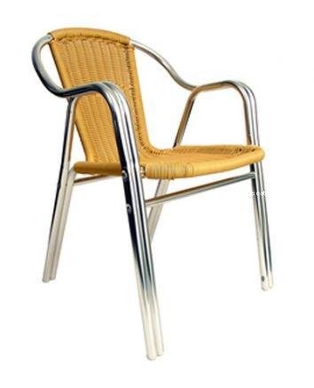 AAA Furniture AL-C Natural Rattan Aluminum Indoor/Outdoor Restaurant Chairs