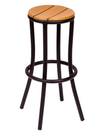 BFM Seating Norden Black Frame Teak Backless Bar Stools